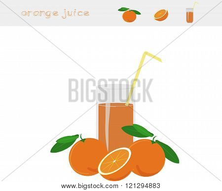 Banner Orange juice. A glass of juice, straw yellow, orange with green leaves, cut orange on white