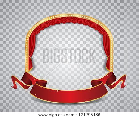 vector ellipse stage with red curtain, golden frame, bulb lamps blank grunge banner and transparent shadow