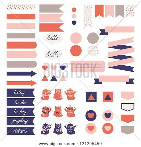 Cute owls and triangle pattern in pastel pink beige and blue.
