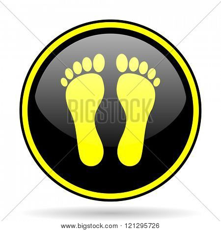 foot black and yellow modern glossy web icon