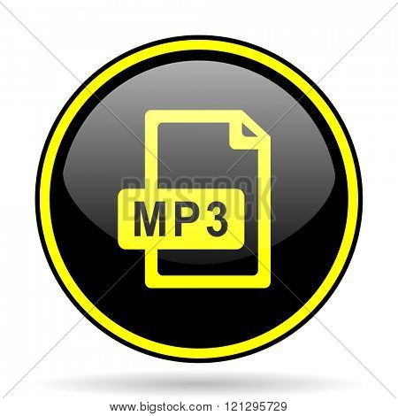 mp3 file black and yellow modern glossy web icon