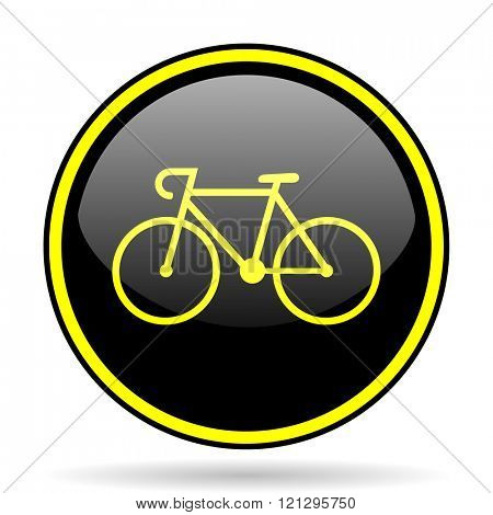 bicycle black and yellow modern glossy web icon