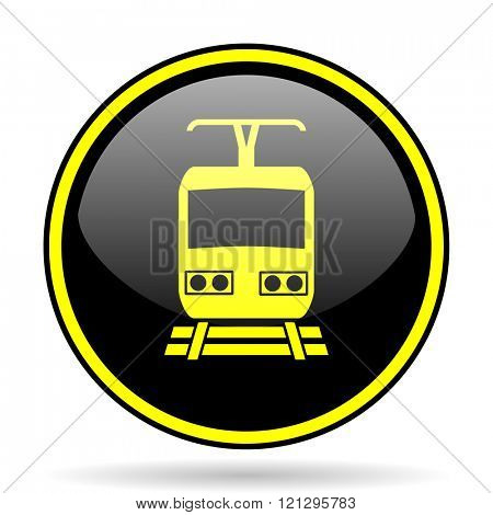 train black and yellow modern glossy web icon
