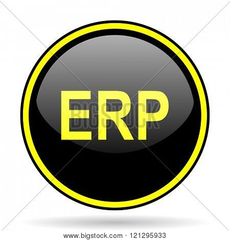 erp black and yellow modern glossy web icon