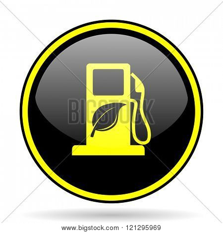 biofuel black and yellow modern glossy web icon