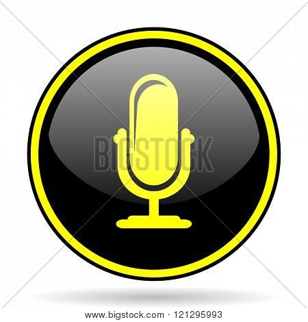 microphone black and yellow modern glossy web icon
