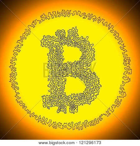 Serrated Golden Bitcoin Crypto Currency Coin Logo