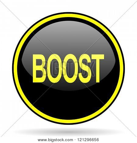 boost black and yellow modern glossy web icon