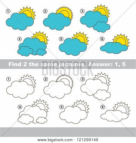 The design difference.  Vector visual game for children. Task and answer. Find two similar Clouds