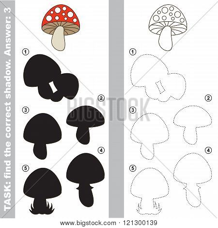 Toadstool with different shadows to find the correct one. Compare and connect object with it true shadow. Visual game for children.
