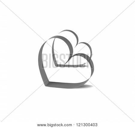 Two Black Hearts isolated on white