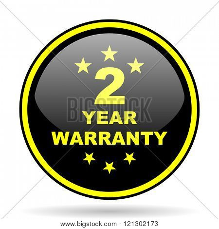 warranty guarantee 2 year black and yellow modern glossy web icon