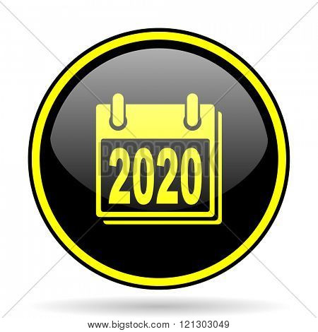 new year 2020 black and yellow modern glossy web icon