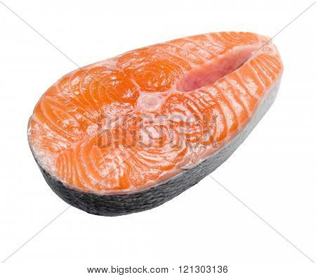 Slice of a salmon isolated on a white background.