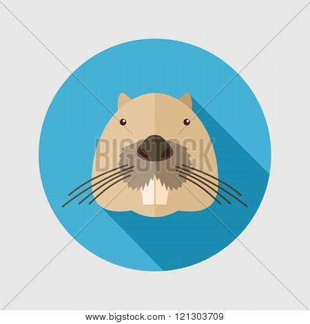 Otter Beaver Flat Icon. Animal Head Vector