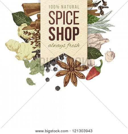spice shop paper emblem with hand drawn spices