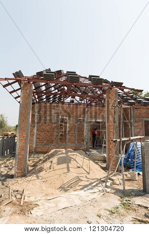 Structure Of House During Construction