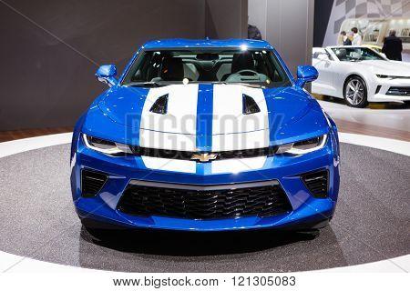GENEVA, SWITZERLAND - MARCH 1: Geneva Motor Show on March 1, 2016 in Geneva, Chevrolet Camaro, front view