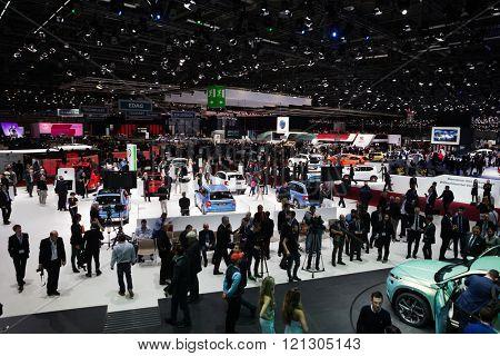 GENEVA, SWITZERLAND - MARCH 1: Geneva Motor Show on March 1, 2016 in Geneva, Skoda and Volkswagen stand wide view