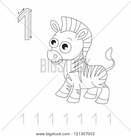 Illustrated worksheet. Learn handwriting. Page to be colored. Tracing worksheet for figure One