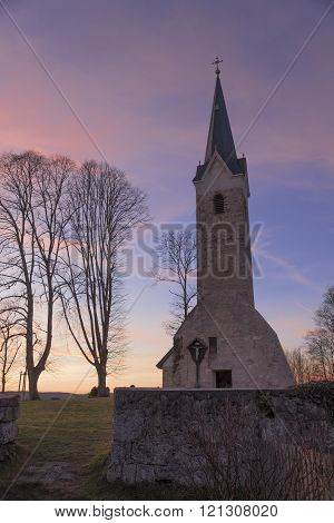 Old Village Chapel With Sunset Sky