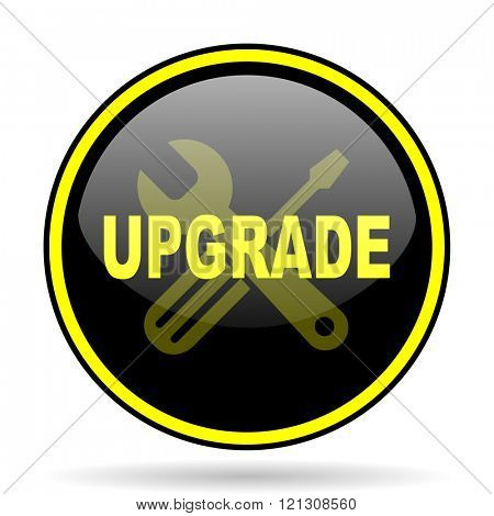 upgrade black and yellow modern glossy web icon