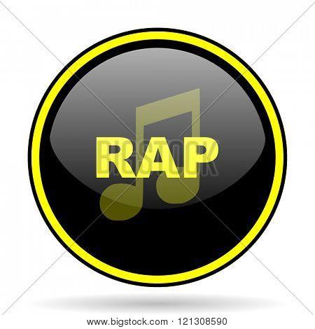 rap music black and yellow modern glossy web icon
