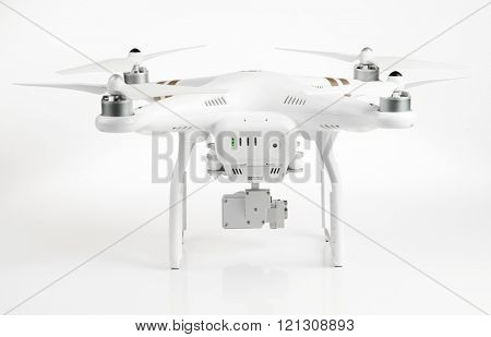 PRAGUE CZECH REPUBLIC - MARCH 7, 2015: Drone quadrocopter Dji Phantom 3 Professional with 4K digital camera.