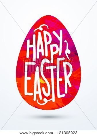 Stylish text Happy Easter on paint strokes decorated Egg, Can be used as Pamphlet, Banner or Flyer design.