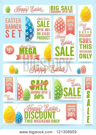 Creative Social Media Sale header or banner set with discount offer on occasion of Easter celebration.