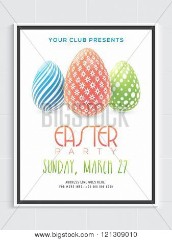 Beautiful Eggs decorated Pamphlet, Banner or Flyer design for Easter Sunday Party celebration.