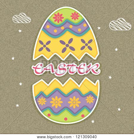 Colorful decorative cracked Paper Egg with stylish text Easter on stars decorated grungy background.