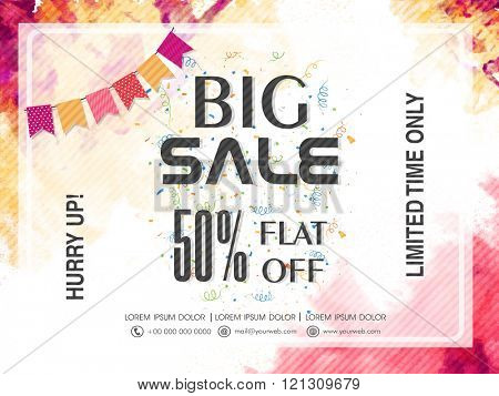 Big Sale Banner, Sale Poster, Sale Flyer, Sale Vector. 50% Off, Sale Background. Vector illustration.