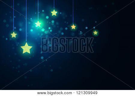glittering stars on bokeh background vector illustration