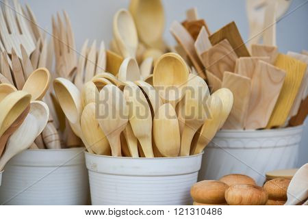 Wooden spoons in the handicraft mart Kaziukas, Vilnius, Lithuania