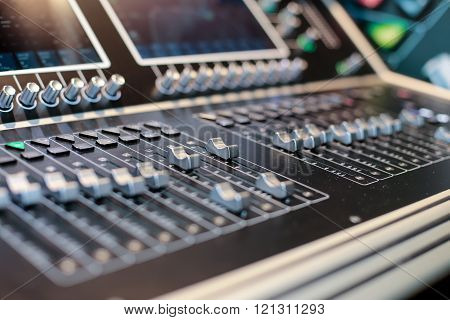 Silver Sliders Of The Stage Controller With Screen