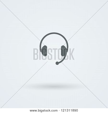 Minimalistic Vector icons big headphones with a microphone.