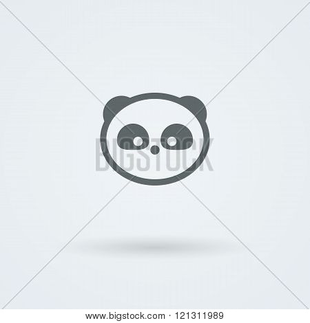 Simple minimalist icon with a muzzle of panda.
