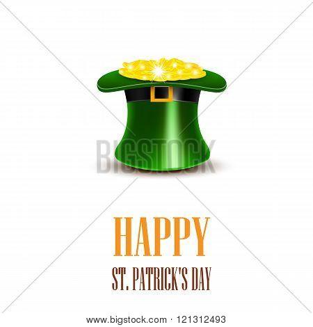 Leprechaun hat filled with gold. Saint Patricks Day Card.