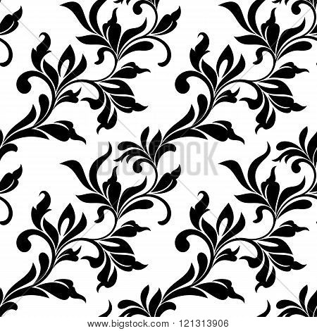 Elegant Seamless Pattern. Tracery Of Swirls And Leaves On A White Background. Vintage Style