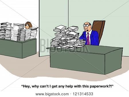 Business cartoon about an overworked, but selfish, boss.