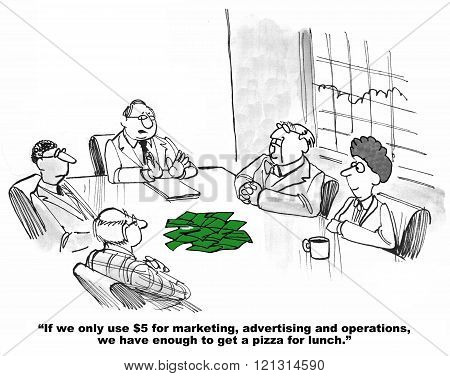 Business cartoon about a lack of budget.