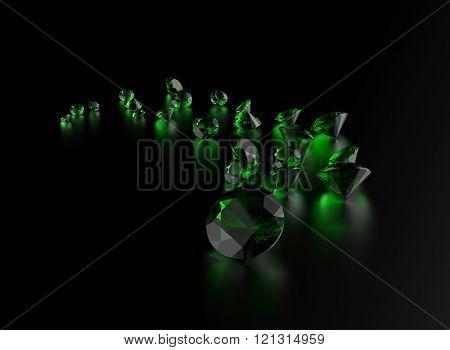 Gemstone on black . Jewelry background. Emerald