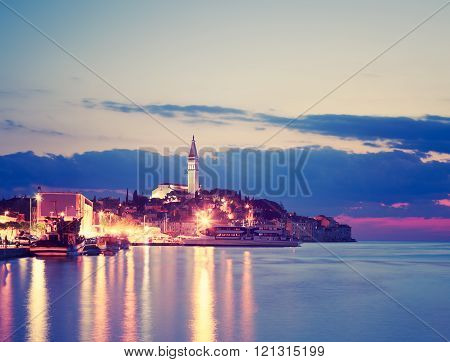 Evening View of Medieval Town Rovinj in Croatia