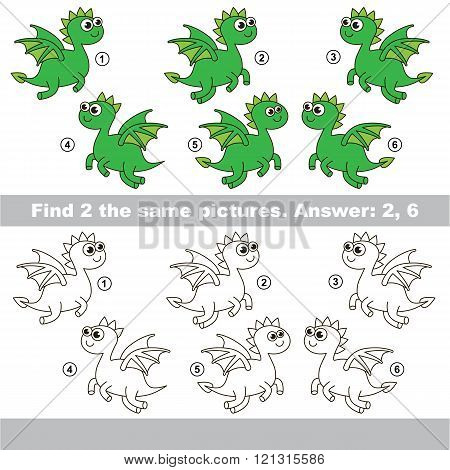 The design difference.  Vector visual game for children. Task and answer. Find two similar Dragon