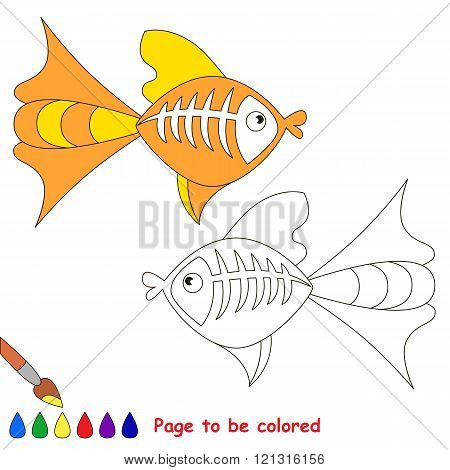 X ray fish to be colored. Coloring book for children. Visual game.