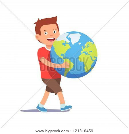 Young boy kid carrying holding planet earth