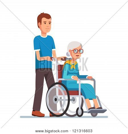 Man strolling with his grandmother in wheelchair