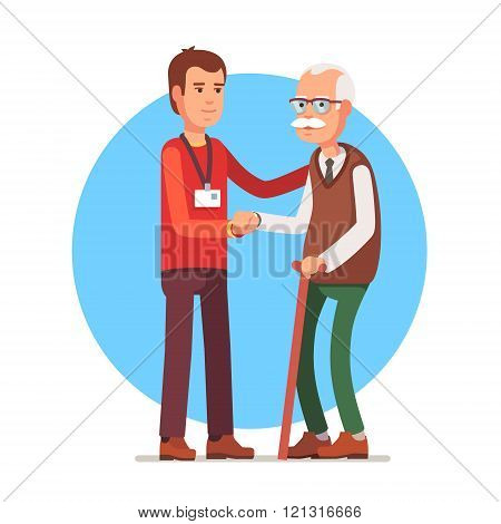 Social worker helping elder grey haired man