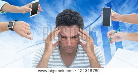 Concentrated businessman against blue data